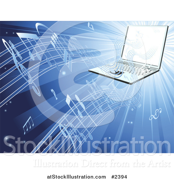 Vector Illustration of a 3d Laptop Streaming Music on Blue