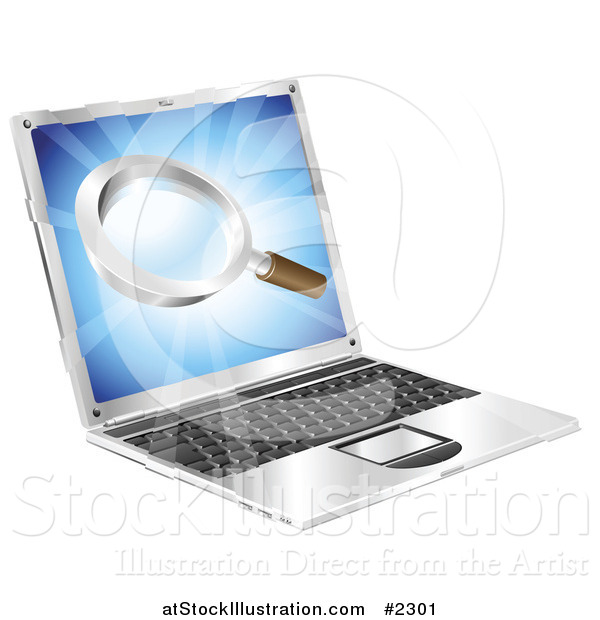 Vector Illustration of a 3d Laptop with a Magnifying Glass on the Screen