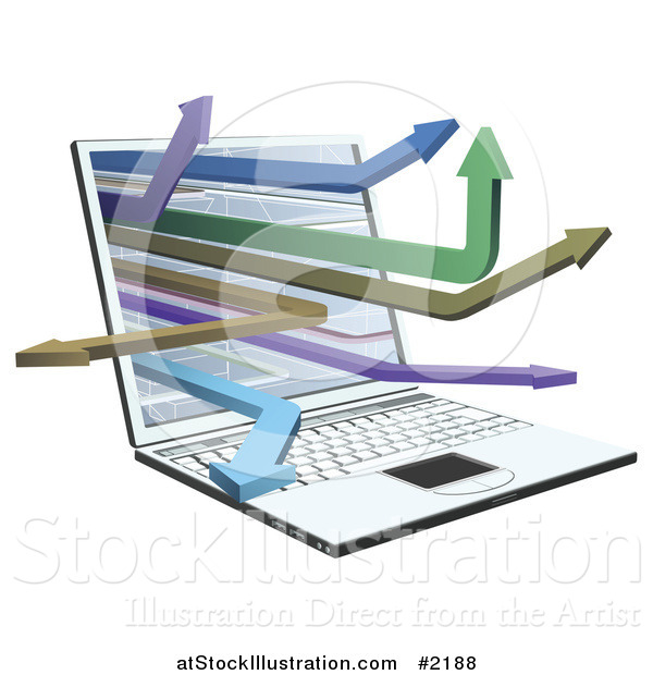 Vector Illustration of a 3d Laptop with Arrow