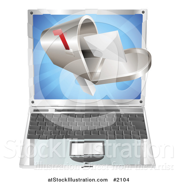 Vector Illustration of a 3d Letter in a Mailbox over a Laptop