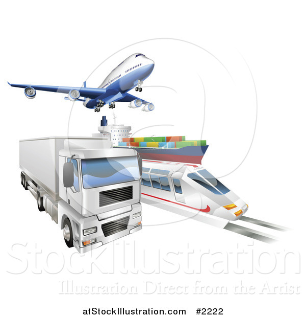 Vector Illustration of a 3d Logistics Vehicles