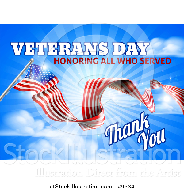 Vector Illustration of a 3d Long Rippling American Flag with Veterans Day Honoring All Who Served Thank You Text on Sky