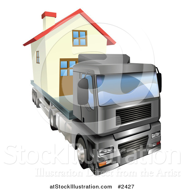Vector Illustration of a 3d Lorry Truck Moving a Home