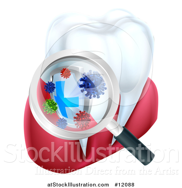 Vector Illustration of a 3d Magnifying Glass Discovering Germs or Bacteria on a Tooth and Gums