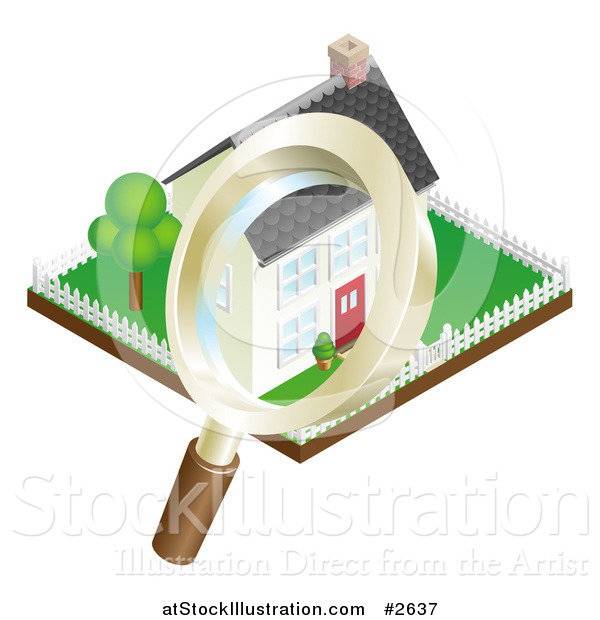 Vector Illustration of a 3d Magnifying Glass Inspecting a Home and Property