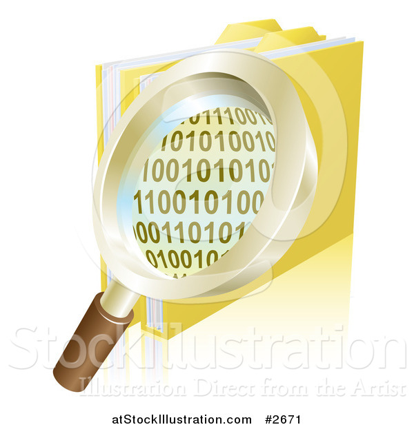 Vector Illustration of a 3d Magnifying Glass over Binary Coding and Data Folders