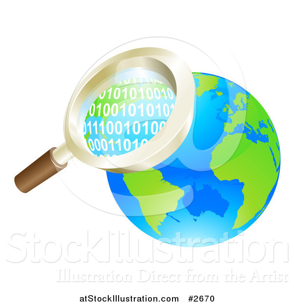 Vector Illustration of a 3d Magnifying Glass Searching Globe Binary Coding