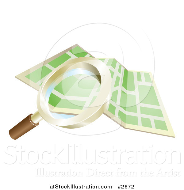 Vector Illustration of a 3d Magnifying Glass Searching over a Gps Map
