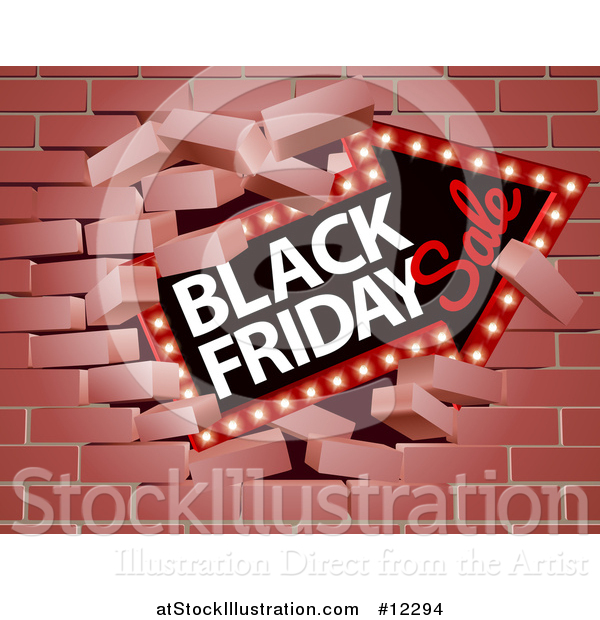 Vector Illustration of a 3d Marquee Arrow Sign with Black Friday Sale Text Breaking Through a Brick Wall