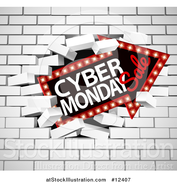 Vector Illustration of a 3d Marquee Arrow Sign with Cyber Monday Sale Text Breaking Through a White Brick Wall