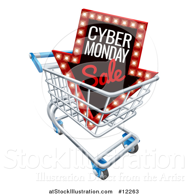 Vector Illustration of a 3d Marquee Arrow Sign with Cyber Monday Sale Text in a Shopping Cart