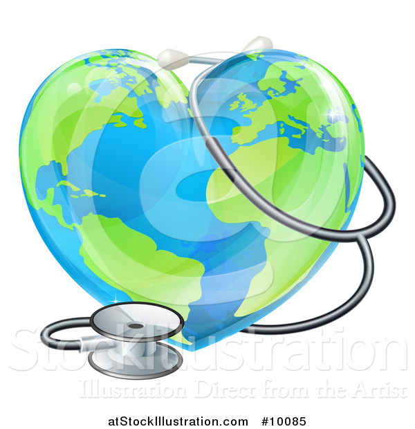 Vector Illustration of a 3d Medical Stethoscope Around a Heart Earth Globe