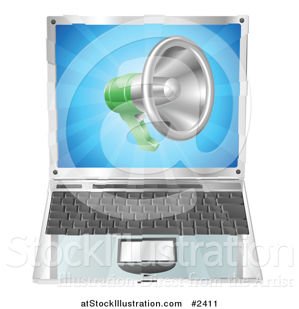 Vector Illustration of a 3d Megaphone over a Laptop Computer