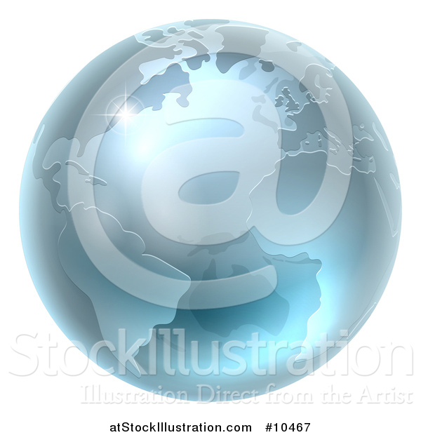 Vector Illustration of a 3d Metallic Blue or Silver Earth Globe