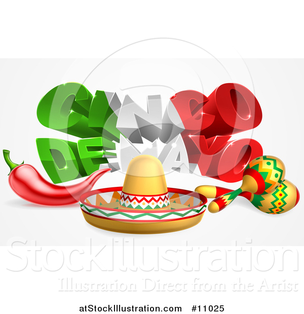 Vector Illustration of a 3d Mexican Flag Colored Cinco De Mayo Text Design with a Sombrero, Chili Pepper and Maracas