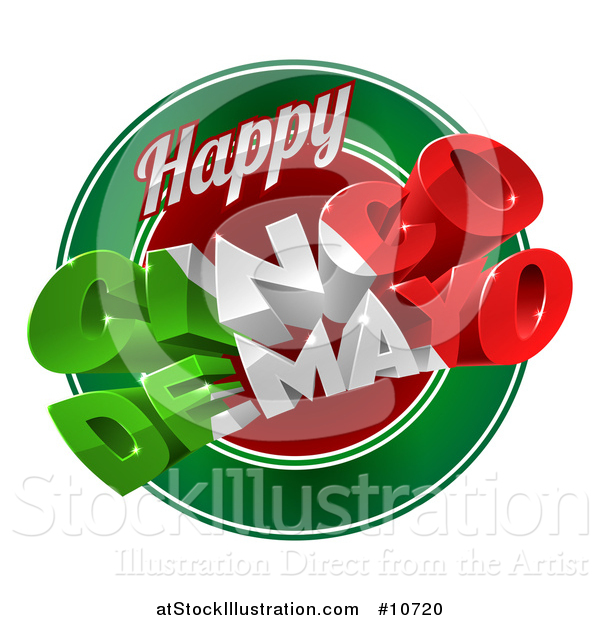 Vector Illustration of a 3d Mexican Flag Colored Happy Cinco De Mayo Text Design over a Circle