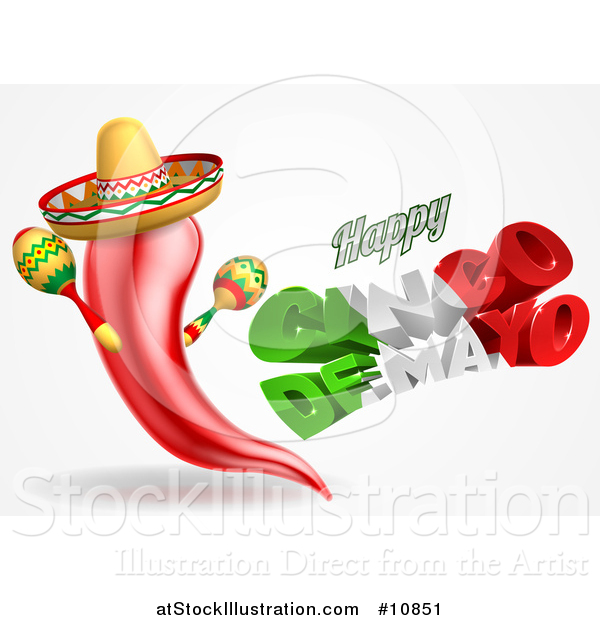 Vector Illustration of a 3d Mexican Flag Colored Happy Cinco De Mayo Text Design with a Chile Pepper Mascot Holding Maracas