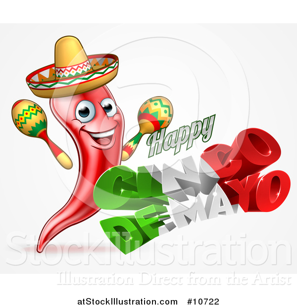 Vector Illustration of a 3d Mexican Flag Colored Happy Cinco De Mayo Text Design with a Chili Pepper Mascot Holding Maracas