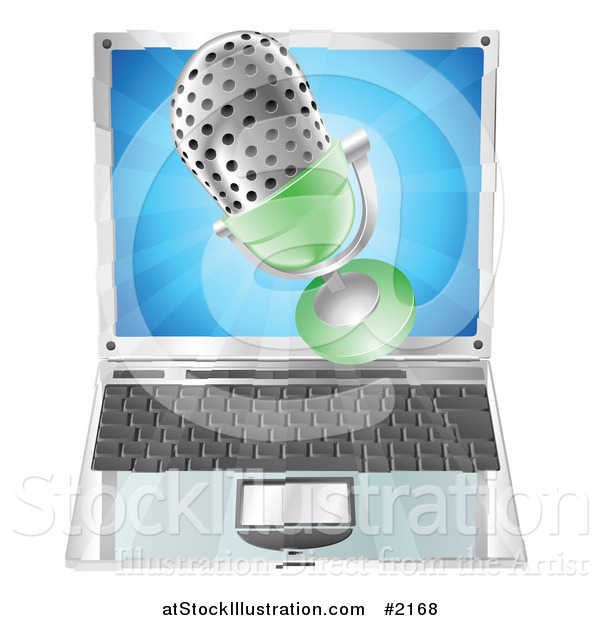 Vector Illustration of a 3d Mic over a Laptop
