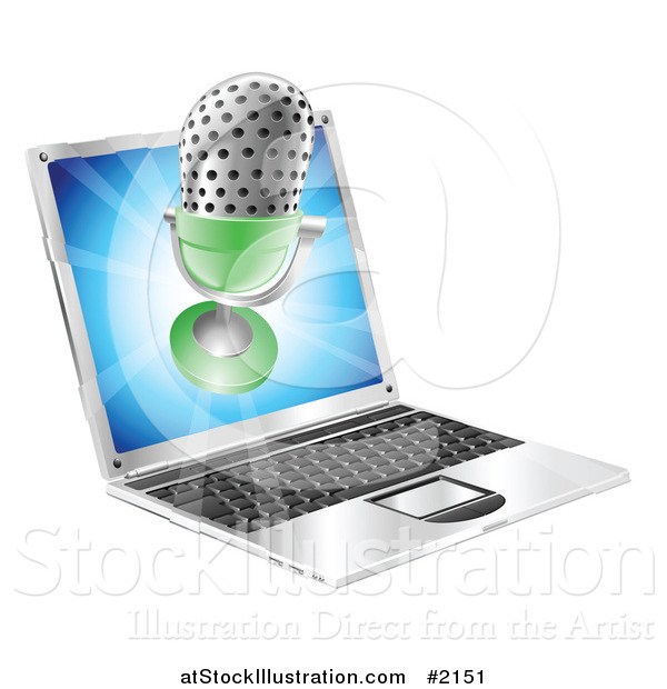 Vector Illustration of a 3d Microphone over a Laptop Screen