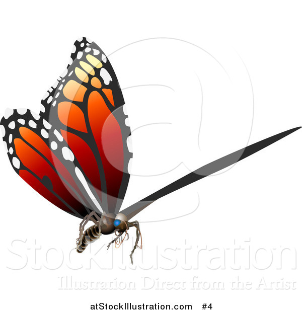 Vector Illustration of a 3D Monarch Butterfly Flying