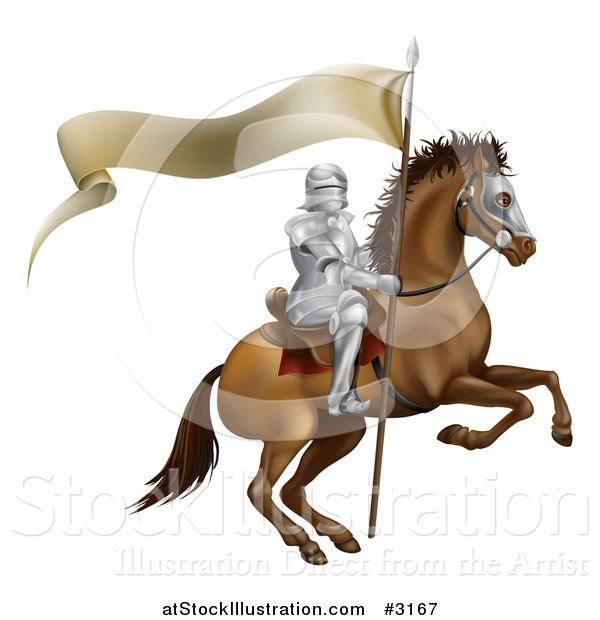 Vector Illustration of a 3d Mounted Knight with a Banner Flag