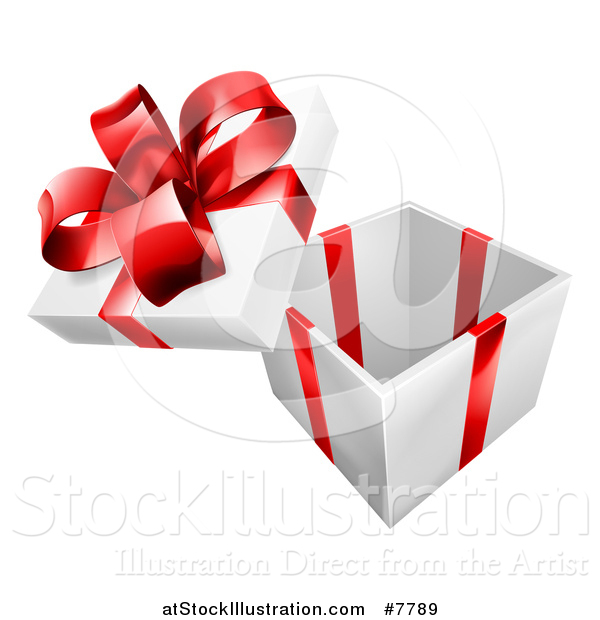 Vector Illustration of a 3d Open Gift Box with a Red Bow and Ribbons