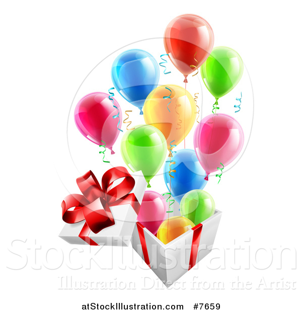 Vector Illustration of a 3d Open Gift Box with Streamers and Colorful Party Balloons