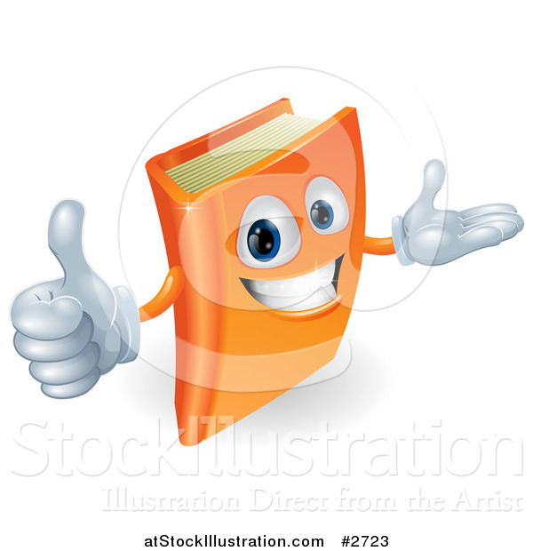 Vector Illustration of a 3d Orange Book Character Smiling and Holding a Thumb up