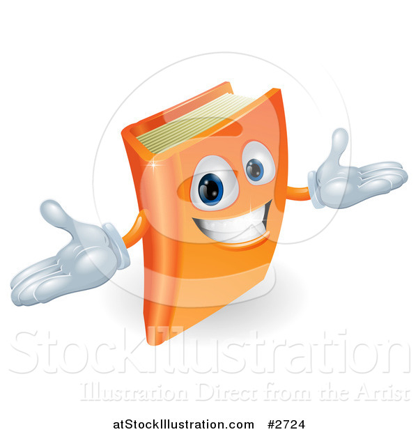 Vector Illustration of a 3d Orange Book Character Smiling and Shrugging