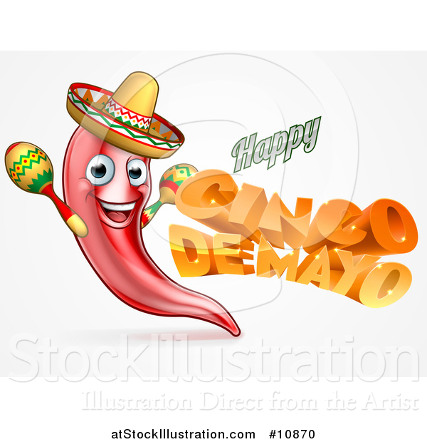 Vector Illustration of a 3d Orange Happy Cinco De Mayo Text with a Chile Pepper Character Wearing a Sombrero and Playing Maracas