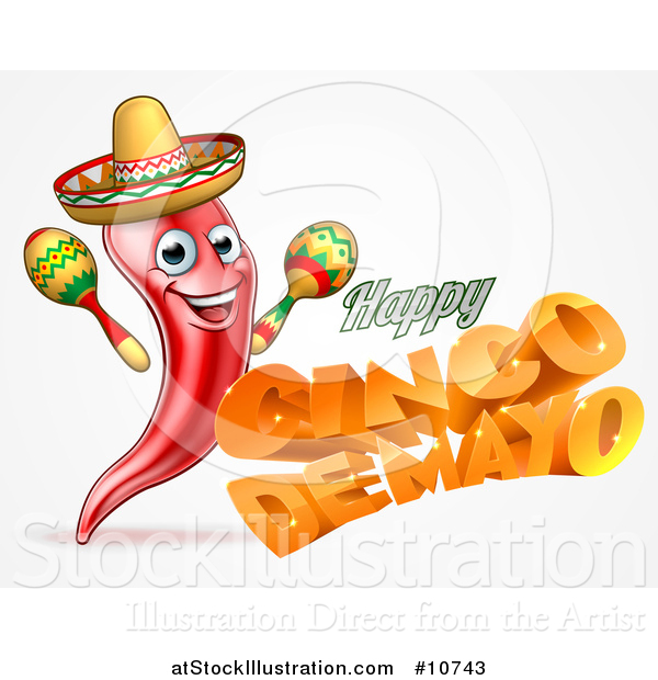 Vector Illustration of a 3d Orange Happy Cinco De Mayo Text with a Sombrero and Maracas