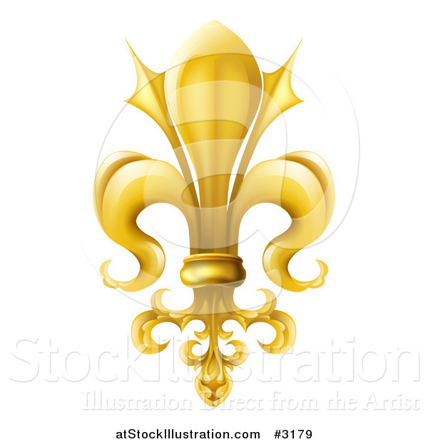 Vector Illustration of a 3d Ornate Gold Fleur De Lis Lily Symbol