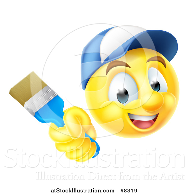 Vector Illustration of a 3d Painter Yellow Smiley Emoji Emoticon Face Holding a Brush