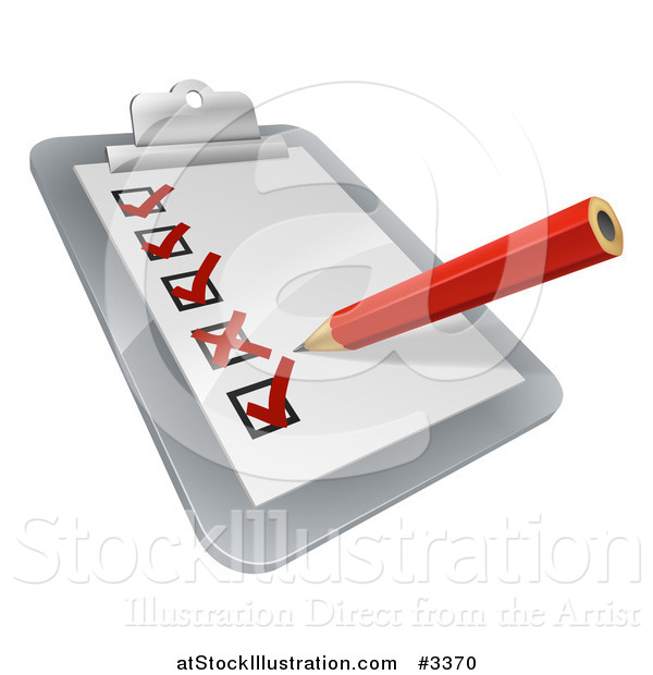 Vector Illustration of a 3d Pencil Checking off Boxes on a Clipboard Poll