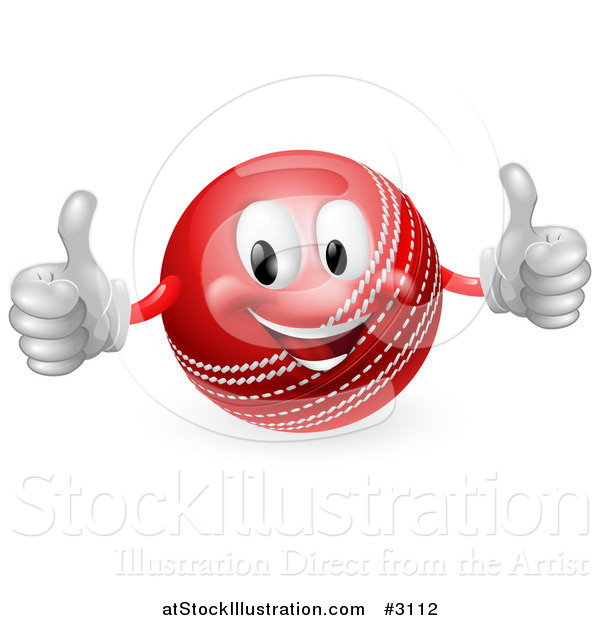Vector Illustration of a 3d Pleased Cricket Ball Mascot Holding Two Thumbs up