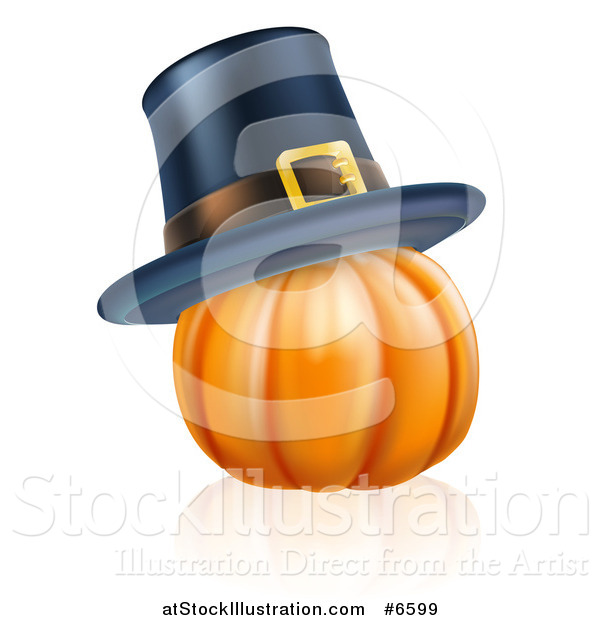 Vector Illustration of a 3d Plump Thanksgiving Pumpkin with a Pilgrim Hat and Reflection