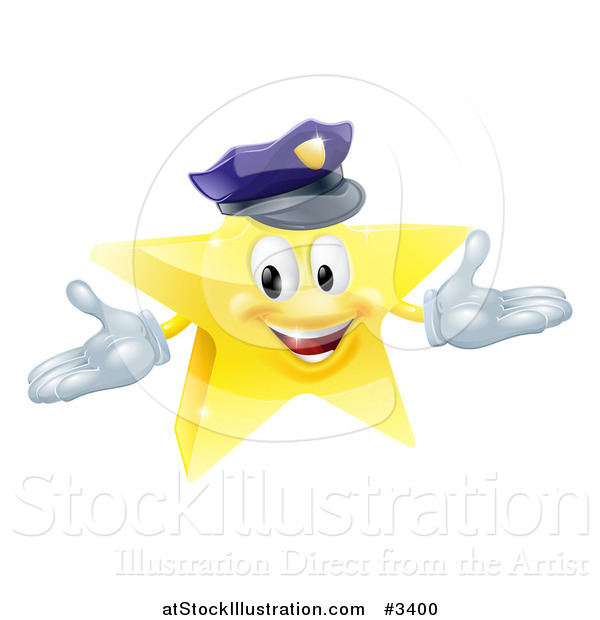 Vector Illustration of a 3d Police Star Mascot