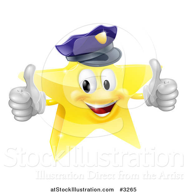 Vector Illustration of a 3d Police Star Mascot Holding Two Thumbs up