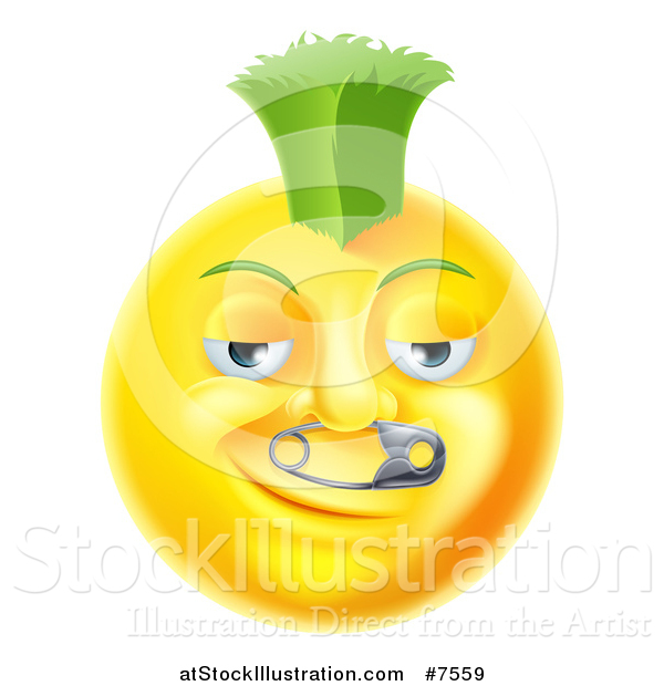 Vector Illustration of a 3d Punk Yellow Smiley Emoji Emoticon Face with a Safety Pin in His Nose and a Green Mohawk