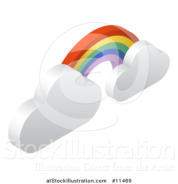 Vector Illustration of a 3d Rainbow Arch and Clouds Weather Icon