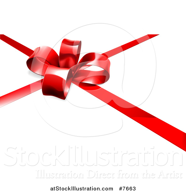 Vector Illustration of a 3d Red Christmas, Birthday or Other Holiday Gift Bow and Ribbon