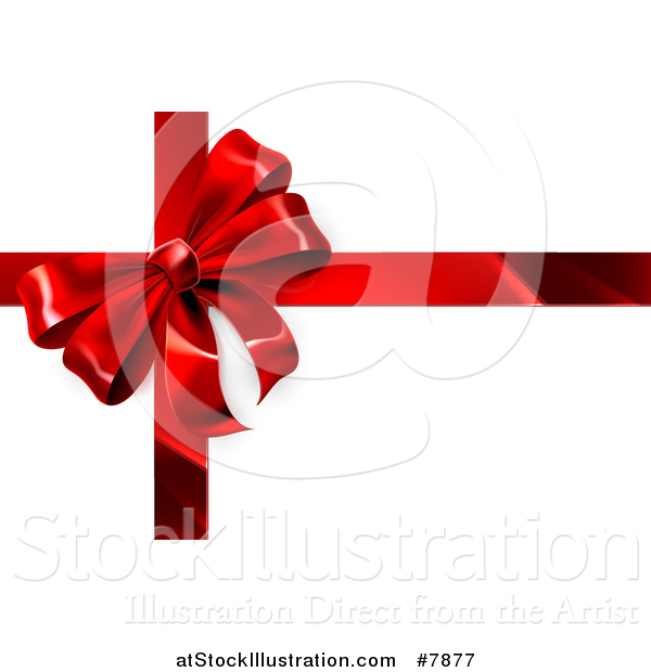 Vector Illustration of a 3d Red Christmas, Birthday or Other Holiday Gift Bow and Ribbon on Shaded White
