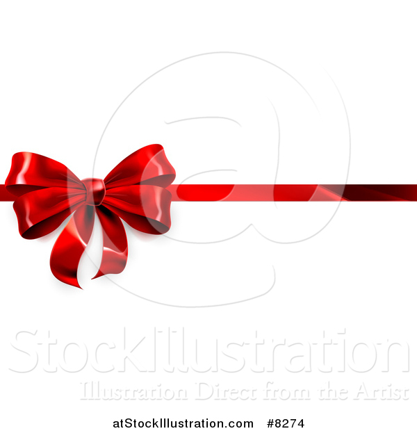 Vector Illustration of a 3d Red Christmas, Birthday or Other Holiday Gift Bow and Ribbon on White