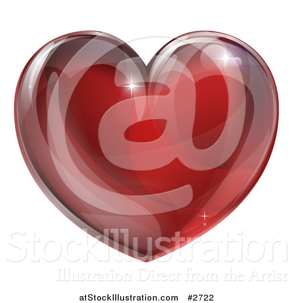 Vector Illustration of a 3d Red Glass Heart