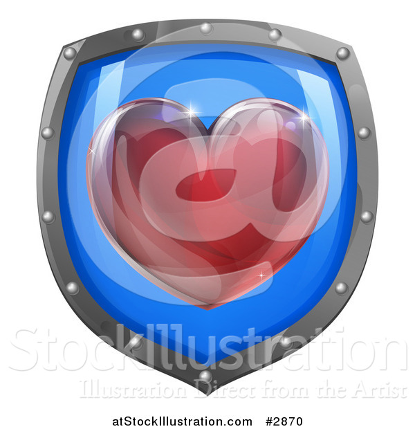 Vector Illustration of a 3d Red Heart on a Blue and Chrome Shield