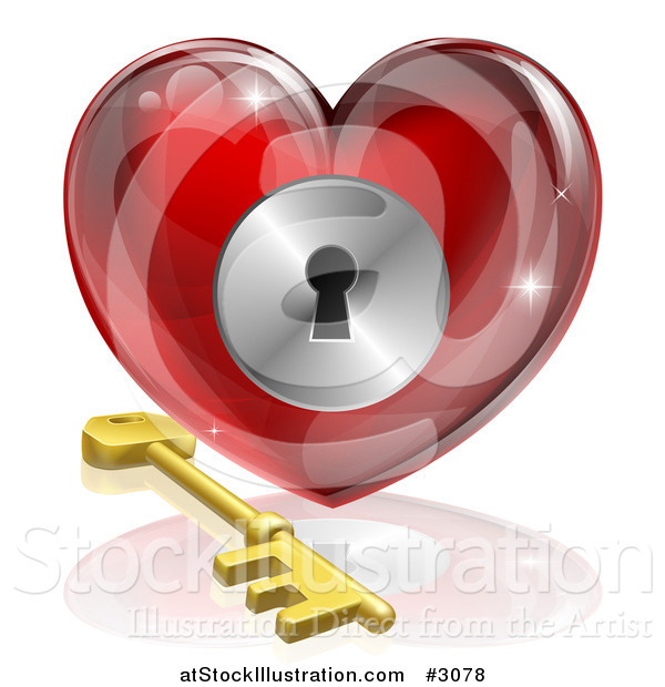 Vector Illustration of a 3d Red Shiny Heart and Gold Key with a Keyhole