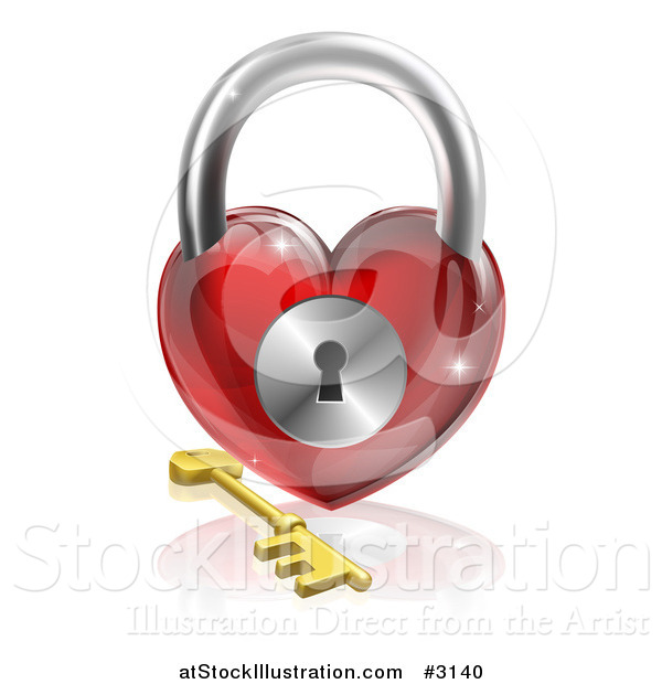 Vector Illustration of a 3d Red Shiny Heart Padlock and Gold Key with a Reflection