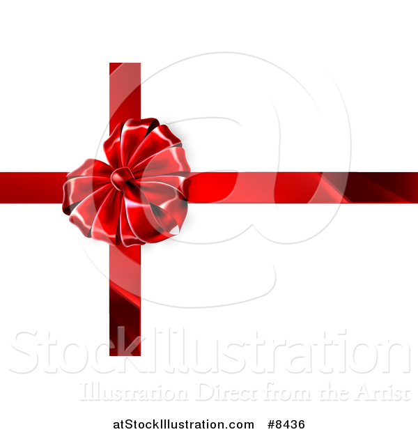 Vector Illustration of a 3d Red Valentines Day Gift Heart Ribbon Bow over White