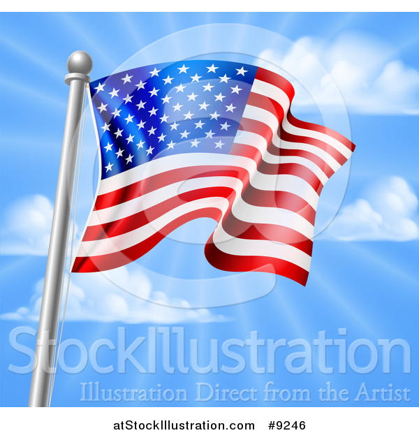 Vector Illustration of a 3d Rippling American Flag on a Silver Pole Against Blue Sky with Rays